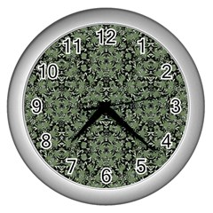 Camouflage Ornate Pattern Wall Clocks (silver)