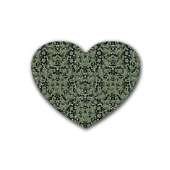 Camouflage Ornate Pattern Heart Coaster (4 Pack)