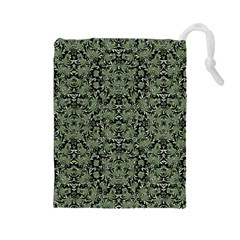 Camouflage Ornate Pattern Drawstring Pouches (large)