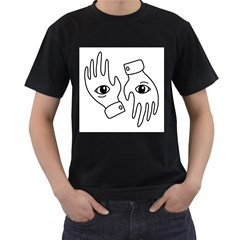 Hands Men s T Shirt (black) (two Sided)