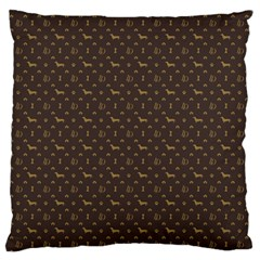 Louis Dachshund  Luxury Dog Attire Large Flano Cushion Case (one Side)
