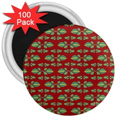 Tropical Stylized Floral Pattern 3  Magnets (100 Pack)