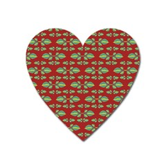 Tropical Stylized Floral Pattern Heart Magnet