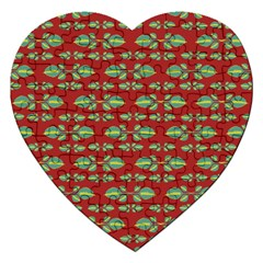 Tropical Stylized Floral Pattern Jigsaw Puzzle (heart)