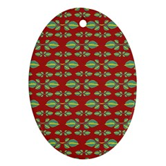 Tropical Stylized Floral Pattern Oval Ornament (two Sides)