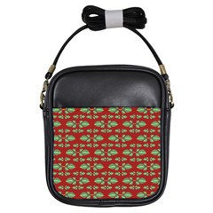 Tropical Stylized Floral Pattern Girls Sling Bags