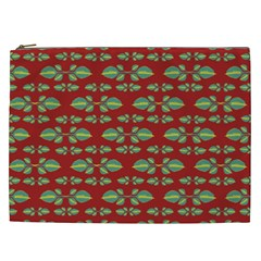 Tropical Stylized Floral Pattern Cosmetic Bag (xxl)