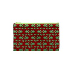 Tropical Stylized Floral Pattern Cosmetic Bag (xs)