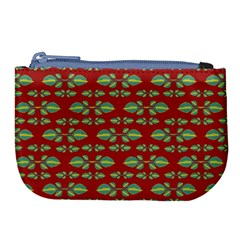 Tropical Stylized Floral Pattern Large Coin Purse
