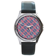 Squares And Circles Motif Geometric Pattern Round Metal Watch
