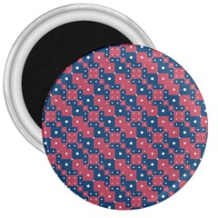Squares And Circles Motif Geometric Pattern 3  Magnets