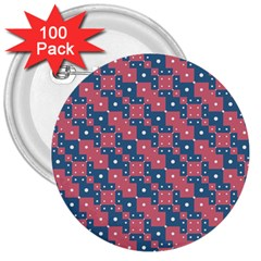 Squares And Circles Motif Geometric Pattern 3  Buttons (100 Pack)