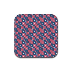 Squares And Circles Motif Geometric Pattern Rubber Square Coaster (4 Pack)