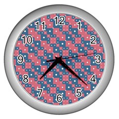 Squares And Circles Motif Geometric Pattern Wall Clocks (silver)