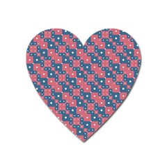 Squares And Circles Motif Geometric Pattern Heart Magnet