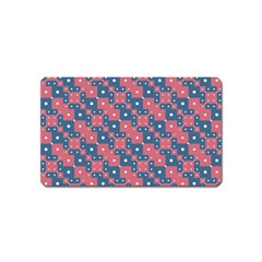 Squares And Circles Motif Geometric Pattern Magnet (name Card)