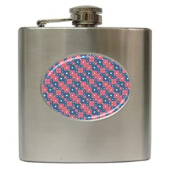 Squares And Circles Motif Geometric Pattern Hip Flask (6 Oz)