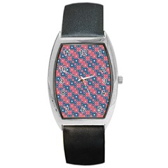 Squares And Circles Motif Geometric Pattern Barrel Style Metal Watch