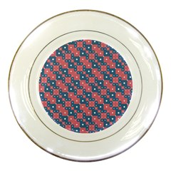 Squares And Circles Motif Geometric Pattern Porcelain Plates