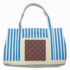 Squares And Circles Motif Geometric Pattern Striped Blue Tote Bag