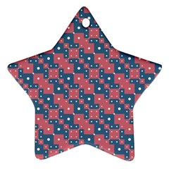 Squares And Circles Motif Geometric Pattern Star Ornament (two Sides)