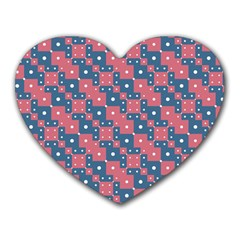 Squares And Circles Motif Geometric Pattern Heart Mousepads