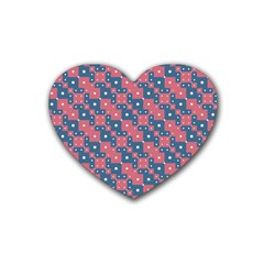 Squares And Circles Motif Geometric Pattern Heart Coaster (4 Pack)