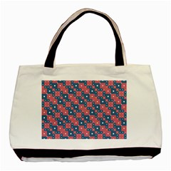 Squares And Circles Motif Geometric Pattern Basic Tote Bag (two Sides)