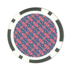 Squares And Circles Motif Geometric Pattern Poker Chip Card Guard