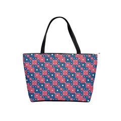 Squares And Circles Motif Geometric Pattern Shoulder Handbags
