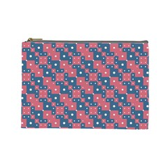 Squares And Circles Motif Geometric Pattern Cosmetic Bag (large)