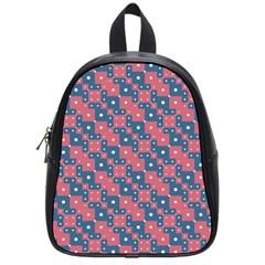 Squares And Circles Motif Geometric Pattern School Bag (small)