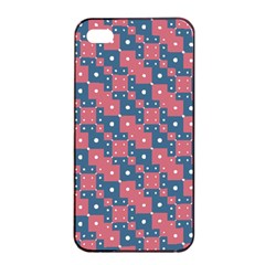 Squares And Circles Motif Geometric Pattern Apple Iphone 4/4s Seamless Case (black)