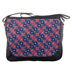 Squares And Circles Motif Geometric Pattern Messenger Bags