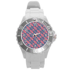 Squares And Circles Motif Geometric Pattern Round Plastic Sport Watch (l)