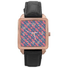 Squares And Circles Motif Geometric Pattern Rose Gold Leather Watch