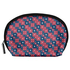 Squares And Circles Motif Geometric Pattern Accessory Pouches (large)