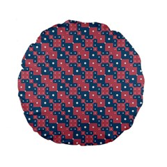 Squares And Circles Motif Geometric Pattern Standard 15  Premium Flano Round Cushions