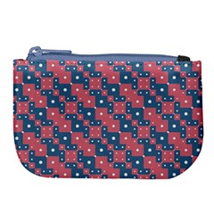 Squares And Circles Motif Geometric Pattern Large Coin Purse
