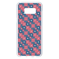 Squares And Circles Motif Geometric Pattern Samsung Galaxy S8 Plus White Seamless Case