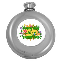 Earth Day Round Hip Flask (5 Oz)