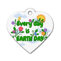 Earth Day Dog Tag Heart (two Sides)