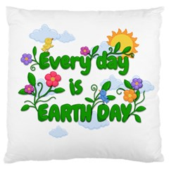 Earth Day Large Flano Cushion Case (one Side)