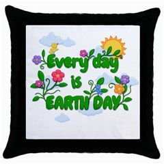 Earth Day Throw Pillow Case (black)