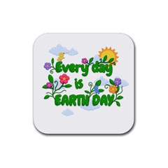 Earth Day Rubber Square Coaster (4 Pack)