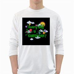 Earth Day White Long Sleeve T Shirts