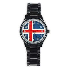 Iceland Flag Stainless Steel Round Watch