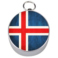 Iceland Flag Silver Compasses