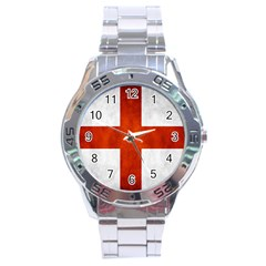 England Flag Stainless Steel Analogue Watch