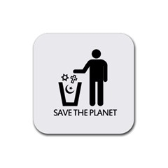 Save The Planet   Religions  Rubber Square Coaster (4 Pack)